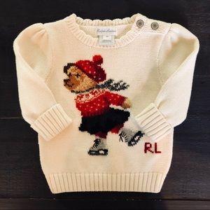 EUC Ralph Lauren baby girl sweater polo skate bear